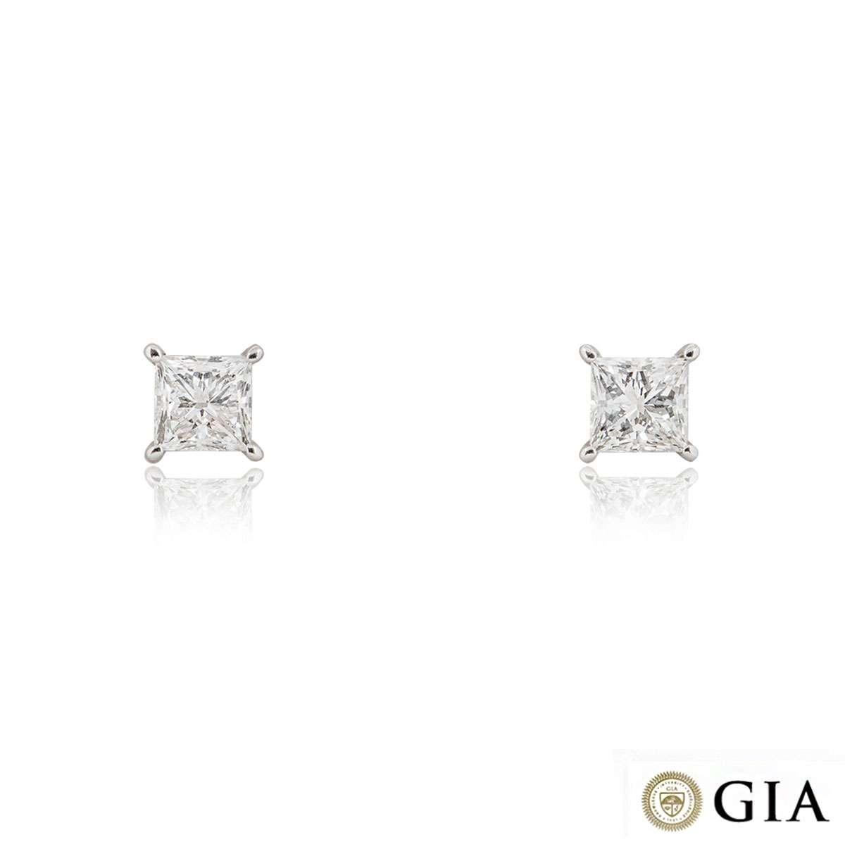 White Gold Princess Cut Diamond Earrings 3.42ct TDW I/VS2